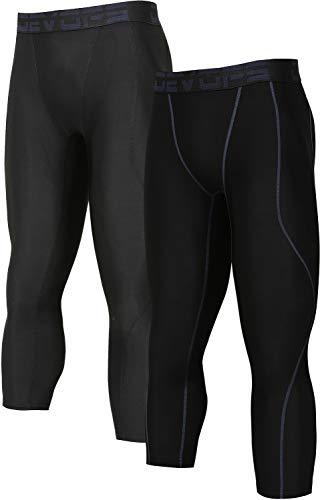 (DEVOPS Men's 3/4 (2 Packs) Compression Cool Dry Tights Baselayer Running Active Leggings Pants (X-Large, Black-Black))