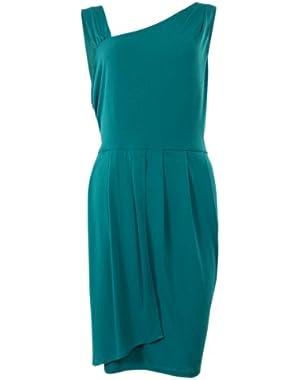 Calvin Klein Women's Asymmetrical Neck Faux Wrap Jersey Dress