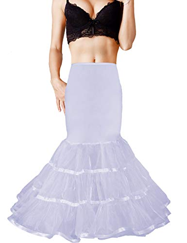 - Shimaly Women's Mermaid Petticoat Fishtail Underskirt Trumpet Petticoat for Wedding Dress (S-M, White)