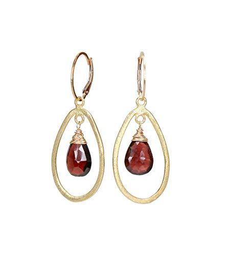 Natural Red Garnet Teardrop Gemstone Gold Earring Real Garnet Oval Hoop Chandelier