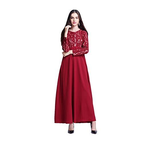 Puro Musulmano Semplice Donna Colore Rosso Hollow Out Dress Manica Lunga Lungo Vestito Etnica Pizzo Abito Cuciture Estate Casuale polpqed WQrBoECxed