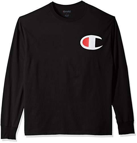 Champion Men's Classic Jersey Long Sleeve Graphic T-Shirt, Black/Big c Logo, Large