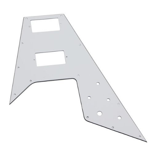 DN Right Handed Scratchplate White 3Ply For Flying V Electric Guitar