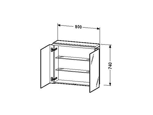 Duravit Spiegelschrank Fogo 210x800x740mm 2 Spiegeltüren,Glasboden,eiche gekalkt, FO967506565