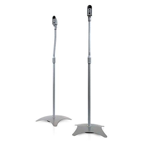 - 9HORN Pair of Metal Speaker Stands Height Adjustable (Silver, 1 Pair)