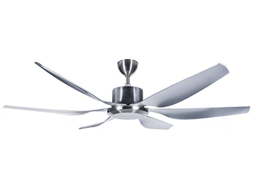 Hyperikon 66-Inch Sleek Contemporary Ceiling Fan, 6 Blade No Light Ceiling Fan 55W, Polished Silver Industrial Modern Ceiling Fan, ABS Ceiling Fan Blades, 110V, Remote Controlled