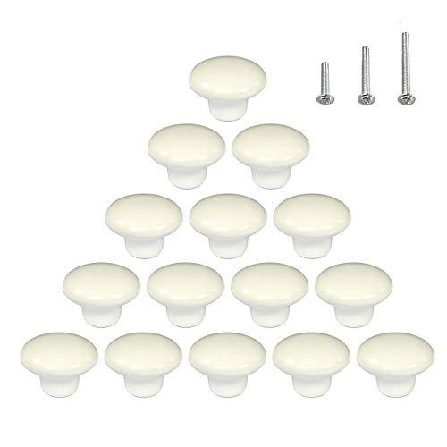 15PCS White Glossy Ceramic Knobs Round Cabinet Dresser Pulls Door Handles Cupboard Wardrobe Drawer, Dia. 1.5 inch