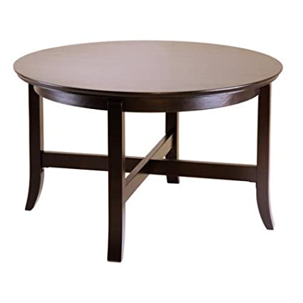 Round Coffee Table, Espresso Finish, Wood Coffee Table, Old School Elegance,