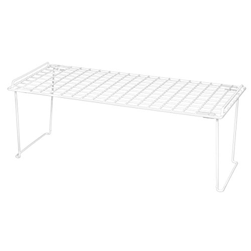 Smart Design Stacking Shelf w/Sturdy Legs - Extra Large - Steel Metal Frame - Rust Resistant Coating - Counter, Pantry, Shelf Organization - Kitchen (22 x 10 Inch) [White]