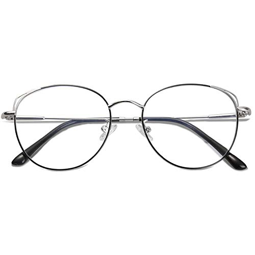 SOJOS Cat Eye Blue Light Blocking Glasses Hipster Metal Frame Women Eyeglasses She Young with Black&Silver Frame/Anti-Blue Light Lens ()