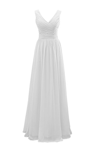 YORFORMALS Women's V-Neck Chiffon Long Formal Evening Party Dress Floor Length Bridal Gown Ruched Bodice Size 12 White