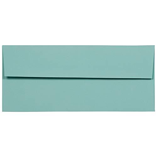 JAM PAPER #10 Business Premium Envelopes - 4 1/8 x 9 1/2 - Aqua Blue - 50/Pack