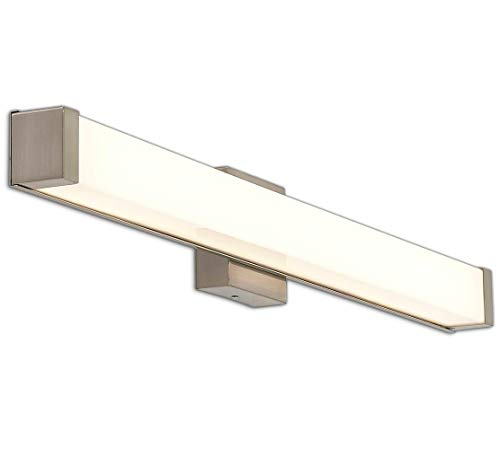 New Squared Capped End Modern Frosted Bathroom Vanity Light Fixture | Contemporary Sleek Dimmable LED Rectangular 36