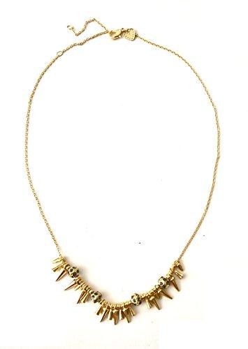(Gold Studded Spike Punk Rhinestone Jeweled Pendant Chain Necklace Jewelry)