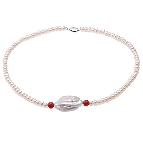 (JYX Pearl Necklace Single Strand Handmade 5.5mm Flatly Round White Cultured Freshwater Pearl Necklace with Red Coral and Huge Baroque Pearl for Women 17
