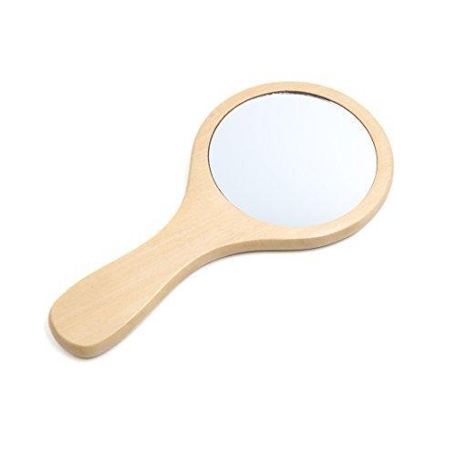 eDealMax Hecho a Mano Espejo de maquillaje porttil de Mano de Madera Redondo decorativo de belleza Cosmticos Regalo
