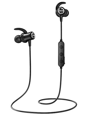 Mpow Bluetooth Headphones, Bluetooth 5.0 aptX Stereo Wireless Earbuds in-Ear Earphones Sports, IPX7 Wireless Headphones 9H Playtime & Magnetic Running Headphones W/CVC 6.0 Noise Reduction Mic, Black