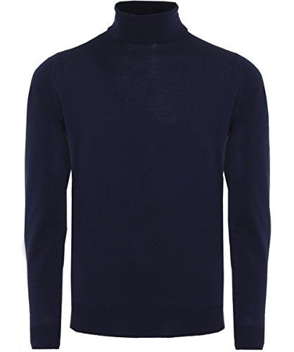 John Smedley Men's Merino Wool Roll Neck Cherwell Jumper XL Midnight