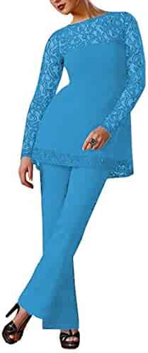 7380ab1c972 Fitty Lell Women s Formal Chiffon Mother of Bride Dress Pant Suits Long  Sleeves Beaded Mother of