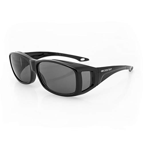 Bobster Condor 2 OTG Sunglasses, Gloss Black Frame, Anti-Fog Smoked Lens, Standard