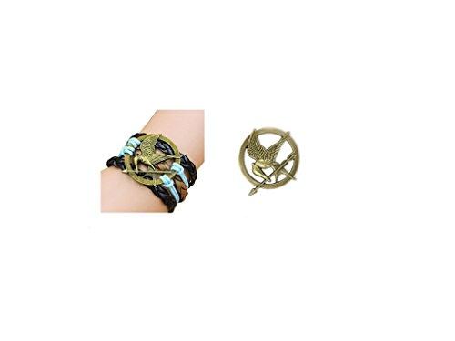 fashion quake The Hunger Games Katniss Everdeen Cosplay Prop Mockingjay Bronze Pin Brooch +Handmade Leather (Katniss Mockingjay Pin)
