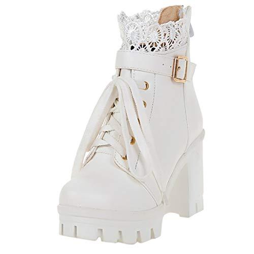 ⚡ HebeTop ⚡ Vegan Round Toe Stacked Lug Heel Lace Up Ankle Booties ()