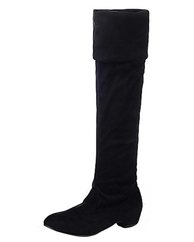 Maybest Women's Muti Wear Over the Knee Thigh High Flat Slouchy Shaft Low Heel Boots Black 7 B (M) (Go Go Boots Australia)