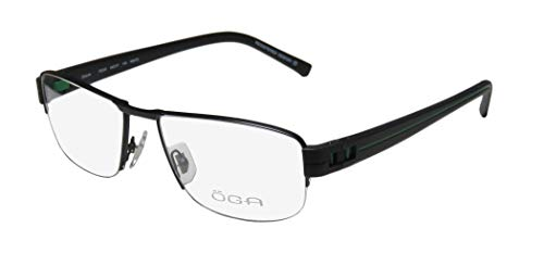 Oga By Morel 7925o Mens Designer Half-rim Spring Hinges European Design Classy Spectacular Eyeglasses/Eyeglass Frame (56-17-140, Black/Green) (Mount Glass European)