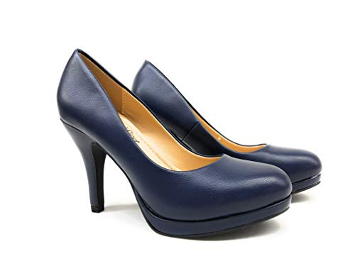 City Classified Women's Classic Round Toe Pumps Navy Pu 8 M US