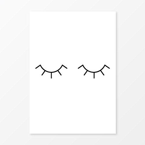 Minimalist Eye Lashes Print, Size 11x14, Black and White Nursery Wall Art, Modern Vanity Decor