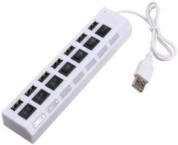- 1 x 7 Port USB 2.0 HUB 1 x AC Adapter 7 Ports USB 2.0 External HUB Adapte with Power On//Off Switch Computer Peripherals USB Hubs - Black