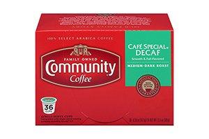 Community Coffee Café Special Decaf 36 ct Single Serve Coffee Pods, Compatible with Keurig K-cup Brewers, Medium Dark Roast