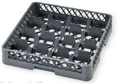 Dish Rack with 16 Compartments for Glasses and Mugs Dishwasher Basket Universal PP Grey 500 x 500 x 100 mm