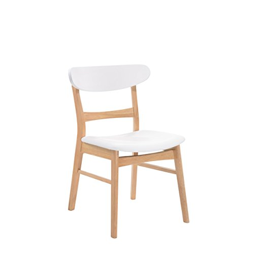Emerald Home Simplicity White and Light Oak Dining Chair with Vinyl Upholstered Seat And Curved Back, Set of Two