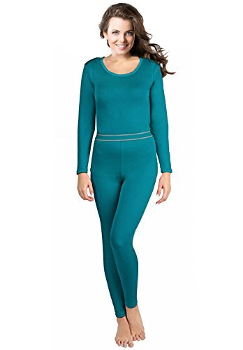 Women's 2pc Thermal Underwear, Top & Bottom Fleece Lined Long Johns - by Rocky,Large,Teal