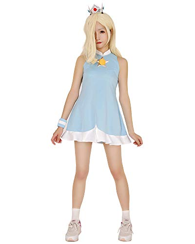 Miccostumes Women's Rosalina Cosplay Costume Halloween Dress with Crown (S) Light Blue -
