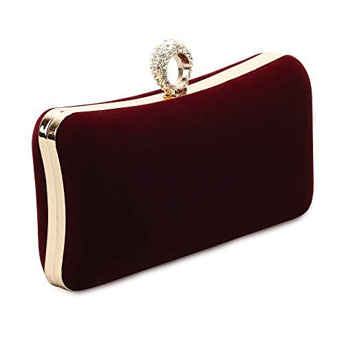 (Marswoodsen Velvet Evening Bags Prom Bridal Wedding Cocktail Party Handbags Wine Red Clutch Purses for Women)