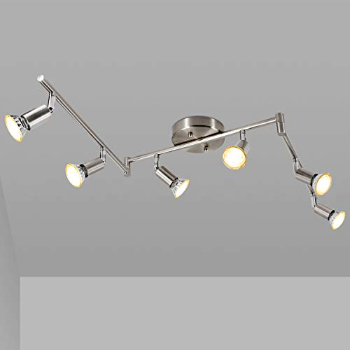 LED 6 Light Track Light Kit, Matte Nickel 6 Way Ceiling Track Lighting, CRI≥90, Flexibly Rotatable Light Head, Ceiling…