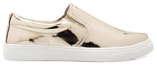 Olivia K Womens Slip Toe Slip On Sneaker Platform A Piattaforma - Adorabile Scarpa Imbottita - Facile Da Usare Tutti I Giorni Torna A Scuola Lt Gold Shiny