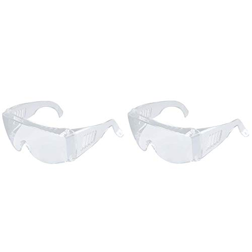 AcisuHu 2pcs Clear Safety Glasses Personal Protective Equipment Transparent Goggles Standard Uv Protection Glasses Goggle Outdoor Lab Eyewear Protection