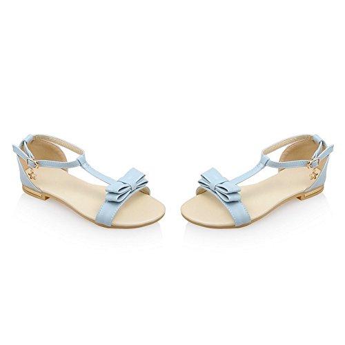 COOLCEPT Damen Mode-Event T-Strap Sandalen Open Toe Bohemia Shoes fur Maedchen Blau