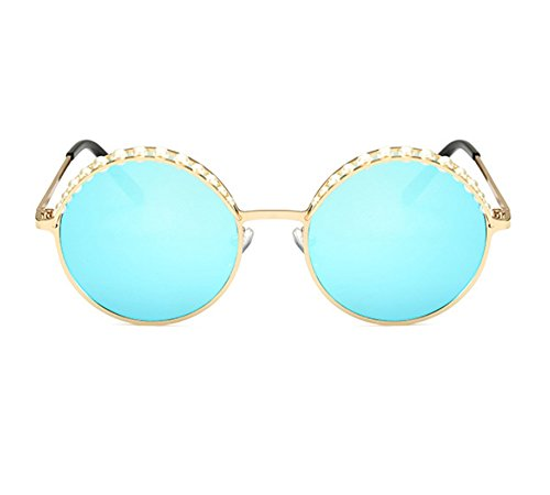 Lunettes Glace Polarized Retro De Or Non Bleu Soleil Huateng Vintage Cils Pearl Femmes 4IpwqwxU