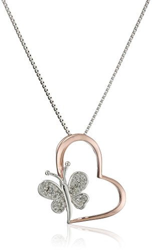 Sterling Silver Diamond Two Tone Butterfly Heart Pendant Necklace (1/10 cttw, I-J Color, I2-I3 Clarity), (Butterfly Heart Pendant)