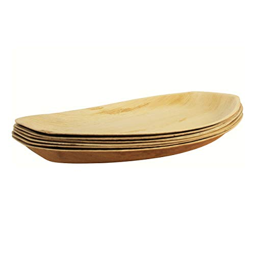 (PrimeQ [6 Count] Palm Leaf Oval Serving Platter - Trays (15x10 Inch) Environmentally Friendly & Natural)