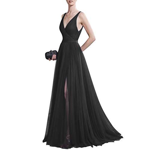 Lang AusschnittRueckenfrei Damen für V Abendkleid Elegante Kleid Burgund Traube STx6wqnt