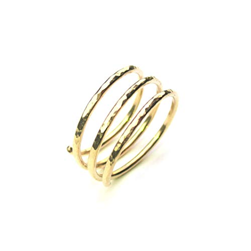 - Gold Wraparound Ring in 14k Gold Filled Wire, Adjustable Triple Band