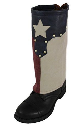 Texas Star Boot (TFJ Women Western Fashion Boot Toppers Slip Ons Long Covers Texas Star Flags Silver Studs)