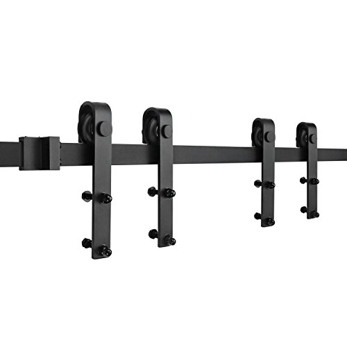 SMARTSTANDARD Mini Cabinet 5.0ft Double Door Sliding Barn Door Hardware for Cabinet TV Stand Wardrobe (Black) (Mini J Shape Hangers) (1 x 5.0 foot Rail) (Tvs Black Satin)