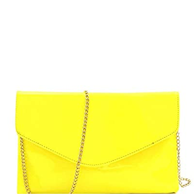 Trendy Vintage Neon Color Patent Shiny Glossy PU Leather Large Envelope Clutch with Chain Strap