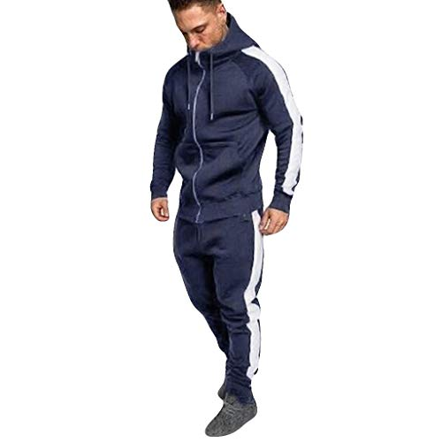 SSYUNO Men Tracksuit Autumn Winter Zipper Print Sweatshirt Sweatpants Hoodies Pants Sweat Suit Dark Blue ()